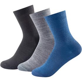 Devold Daily Light Socks 3 Pack Kids, blauw/zwart
